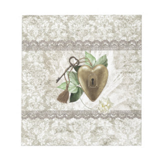 Vintage Heart with Key Accented with Leaves, Tulle Notepad