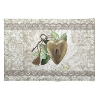 Vintage Heart with Key Accented with Leaves, Tulle Placemat