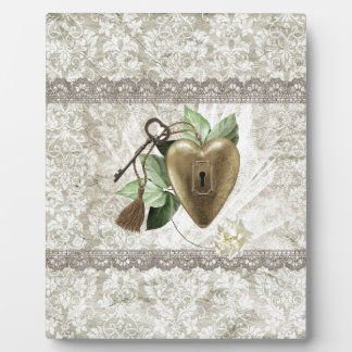 Vintage Heart with Key Accented with Leaves, Tulle Plaque