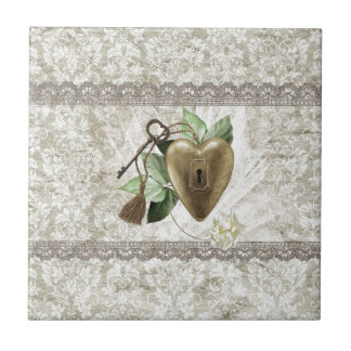Vintage Heart with Key Accented with Leaves, Tulle Tile