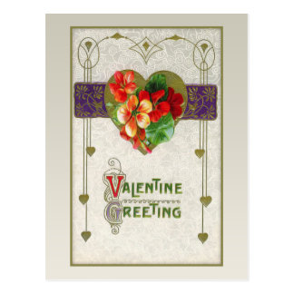 Vintage Hearts and Flowers Valentine Postcard
