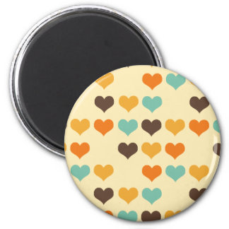 Vintage Hearts Colors 2 Inch Round Magnet