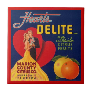 Vintage Hearts Delite FL Fruit Crate Label Tile