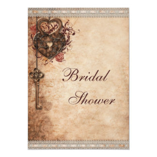 "Vintage Hearts Lock and Key Bridal Shower 5"" X 7"" Invitation Card"