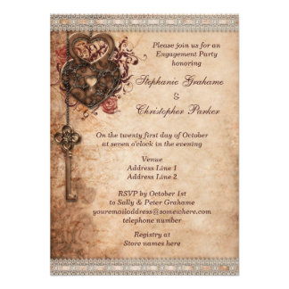 Vintage Hearts Lock and Key Engagement Party Custom Invites