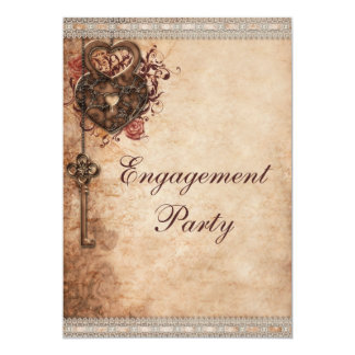 """Vintage Hearts Lock and Key Engagement Party 5"""" X 7"""" Invitation Card"""