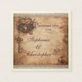 Vintage Hearts Lock and Key Personalized Wedding Disposable Napkins