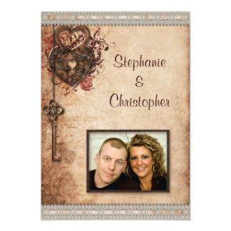 "Vintage Hearts Lock and Key Photo Wedding 5"" X 7"" Invitation Card"