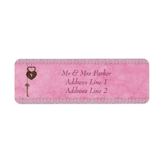 Vintage Hearts Lock and Key Pink Personalized Return Address Label