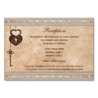 Vintage Hearts Lock and Key Reception Insert Table Card