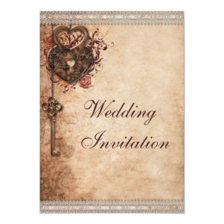 "Vintage Hearts Lock and Key Wedding 5"" X 7"" Invitation Card"