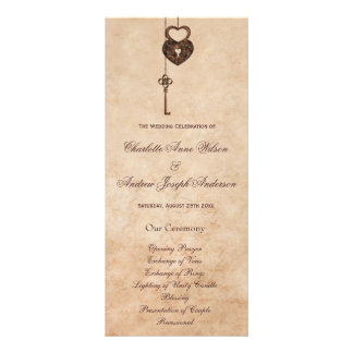 Vintage Hearts Lock and Key Wedding Program
