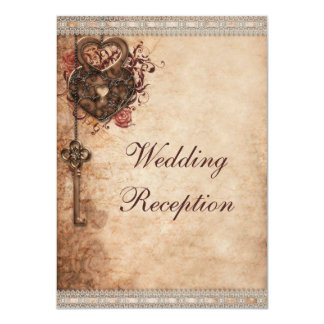 "Vintage Hearts Lock and Key Wedding Reception 4.5"" X 6.25"" Invitation Card"