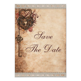 """Vintage Hearts Lock and Key Wedding Save The Date 3.5"""" X 5"""" Invitation Card"""
