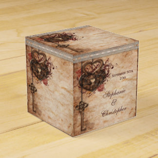 Vintage Hearts Lock and Key Wedding Thank You Wedding Favor Box