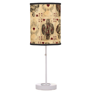 Vintage Hearts Playing Cards Queen King Jack Ace Table Lamp