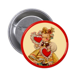 Vintage Hearts Sweetheart 2 Inch Round Button