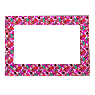 Vintage Hearts tiled pattern Magnetic Picture Frames