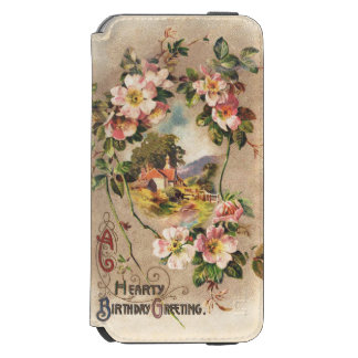 Vintage Hearty Birthday Greetings Floral Landscape Incipio Watson™ iPhone 6 Wallet Case