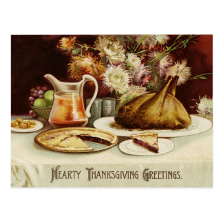 Vintage Hearty Thanksgiving Dinner Table Postcard