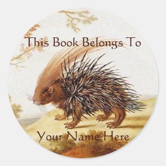 Vintage Hedgehog Book Stickers