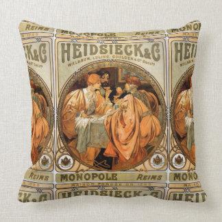 Vintage Heidsieck & Co Monopole Reims Wine Label Throw Pillow