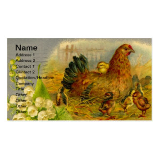 Vintage Hen and Chicks Business Card