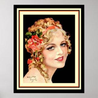 Vintage Henry Clive Flapper Girl Poster 16 x 20