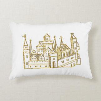 Vintage Heraldic Castle #2 Crest Faux Gold Accent Pillow