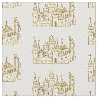 Vintage Heraldic Castle #2 Crest Faux Gold Fabric