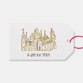 Vintage Heraldic Castle #2 Crest Faux Gold Gift Tags