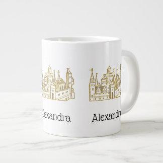 Vintage Heraldic Castle #2 Crest Faux Gold Large Coffee Mug