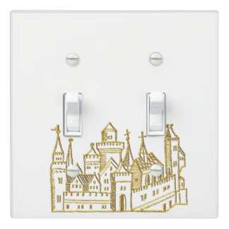 Vintage Heraldic Castle #2 Crest Faux Gold Light Switch Cover