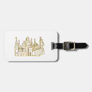 Vintage Heraldic Castle #2 Crest Faux Gold Luggage Tag