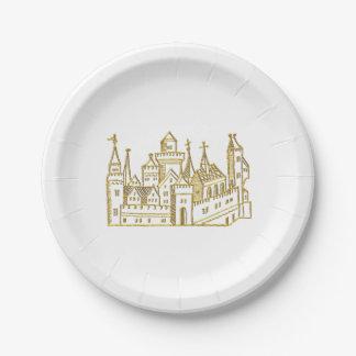 Vintage Heraldic Castle #2 Crest Faux Gold Paper Plate