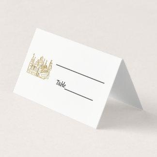 Vintage Heraldic Castle #2 Crest Faux Gold Place Card