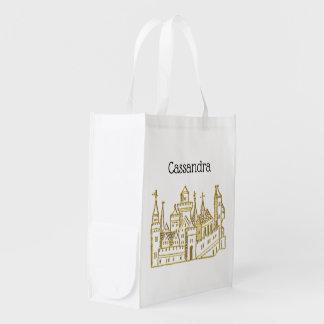 Vintage Heraldic Castle #2 Crest Faux Gold Reusable Grocery Bag