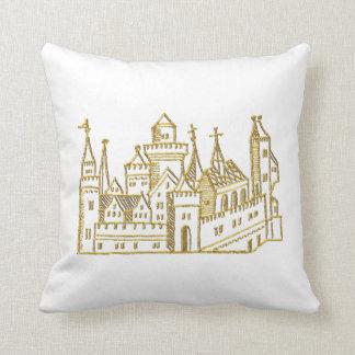 Vintage Heraldic Castle #2 Crest Faux Gold Throw Pillow
