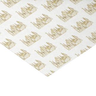 Vintage Heraldic Castle #2 Crest Faux Gold Tissue Paper