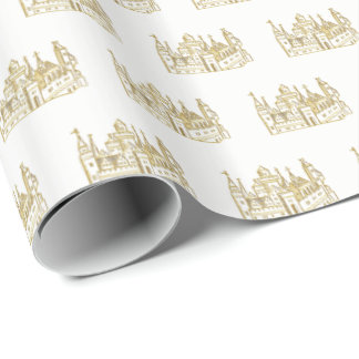Vintage Heraldic Castle #2 Crest Faux Gold Wrapping Paper
