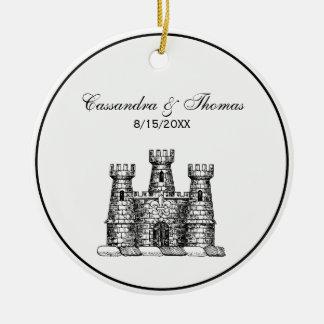 Vintage Heraldic Castle Emblem Coat of Arms Crest Ceramic Ornament