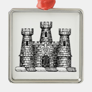 Vintage Heraldic Castle Emblem Coat of Arms Crest Metal Ornament