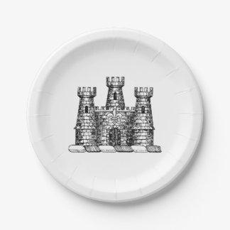Vintage Heraldic Castle Emblem Coat of Arms Crest Paper Plate