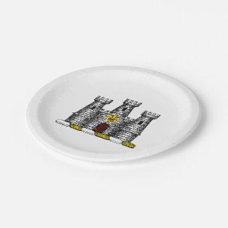 Vintage Heraldic Castle Emblem CoatofArms Crest C Paper Plate