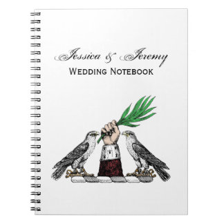 Vintage Heraldic Falcons With Hand Crest Emblem Notebooks