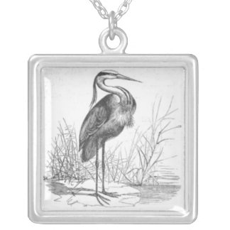 Vintage Heron Drawing Silver Plated Necklace