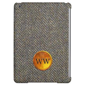 Vintage Herringbone Tweed and Gold Monogram iPad Air Cover