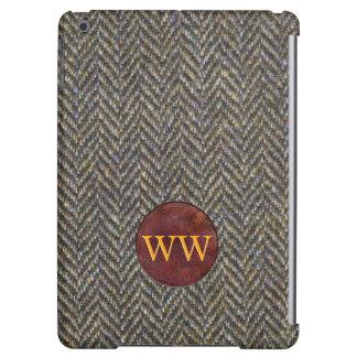 Vintage Herringbone Tweed and Leather Monogram iPad Air Covers
