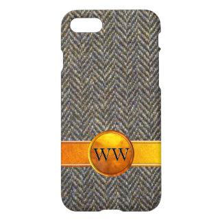 Vintage Herringbone Tweed, Gold and Brass Monogram iPhone 7 Case