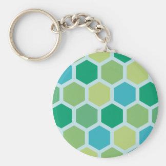 Vintage hexagonal pattern keychain